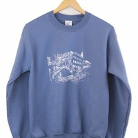 Venice Indigo Blue Graphic Crewneck Sweatshirt