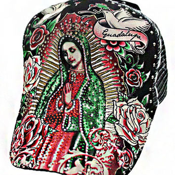* Virgen De Guadalupe. Trucker Cap Style Snap Back In Black