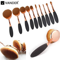 Vander 10PCS Toothbrush Shape Elite Oval Makeup Brushes Set Rose Gold Foundation Contour Eyebrow Cream Puff Coametic Kits