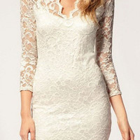 White V-Neck Cut Out Lace Dress