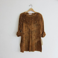 Vintage 90's tie dye shirt with fringe // one size fits most