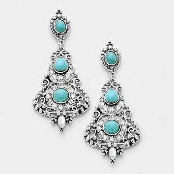 "3"" silver turquoise crystal boho pierced earrings"