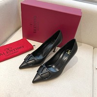 Valentino Big V-button shoes Heel height 7 cm