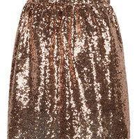 Brown Sequined Mini Skirt