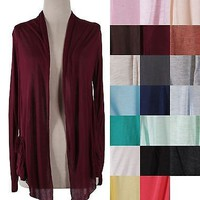 Solid Colors Plain Shawl Collar Long Sleeve Open Front Knit Cardigan