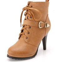 Lace Up Heel Boots with Pin Buckle