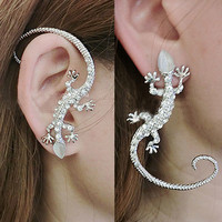 Silver Glittering Lizard Ear Cuff (Single)
