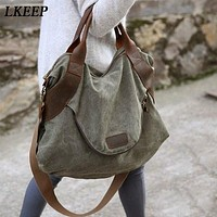 Oversized Canvas Shoulder Bag, Fantastic Messenger Bag
