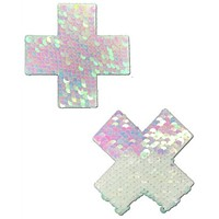 Plus X:  Iridescent Pearl/Matte White Color Changing Reversible Sequin Pasties