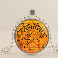 "Creativity, lotus flower, orange, 1"" glass and metal Pendant necklace Jewelry."