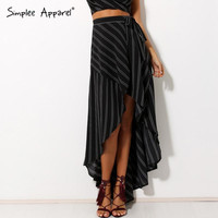 Simplee Apparel 2016 new bow striped asymmetrical women skirts Casual  beach maxi retro print skirt Loose girl high waist skirts
