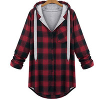 Plaid Hooded Long Sleeve Cardigan Sweatshirt Outerwear