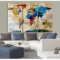 Canvas Art Print Watercolor World Map Contemporary 3 Panel Triptych Colorful Rainbow Colors Large
