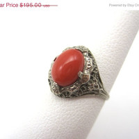 SALE Vintage Coral Ring - 10kt White Gold and Red Coral