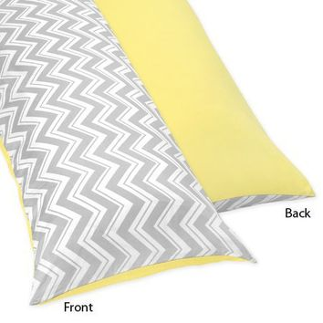 Yellow and Gray Zig Zag Full Length Double Zippered Body Pillow Case Cover by Sweet Jojo Designs