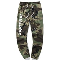 Supreme Fashion new letter print camouflage leisure sports couple trousers pants Green