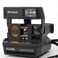 Impossible Vintage Sun 600 Polaroid Instant Camera Set- Black One
