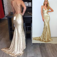 Spaghetti Straps Sparkly Backless Prom Dresses