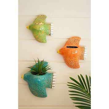 Set Of 3 Colorful Ceramic Bird Wall Planters
