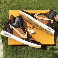 LV Shoes Louis Vuitton Sneakers Air Jordan 1 AJ 11 high-top basketball shoes PU Coffee Print