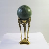 Large 3 Inch Variscite Mineral Sphere with Brass Stand
