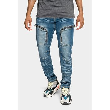 Moto Zipped Skinny Cargo Denim Jeans