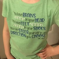 Dr. Suess Oh the Places You'll Go YOUTH Tshirt, Toddler Shirt, Custom Kids Shirt, Dr. Suess, Read Across America