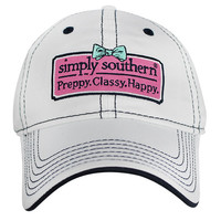 Simply Southern Preppy.Classy.Happy Hat - White