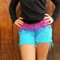 Pink and Blue Studded and Dyed Shorts by CheyennesAccessories