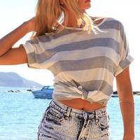 Casual Round Neck  Stripe T-Shirt B003924