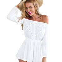 White Long Sleeve Off-shoulder Romper