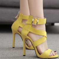 Hot style sexy suede crossed with Roman stiletto sandals