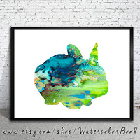 Rabbit 3 Watercolor Print, Rabbit art, Rabbit  painting, Children's Wall, Art Home Decor,animal watercolor,watercolor painting,animal print