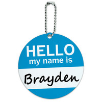 Brayden Hello My Name Is Round ID Card Luggage Tag