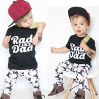Baby boys clothes set summer Toddler Baby Kids Boy Print Tops Shirt Pants Outfit