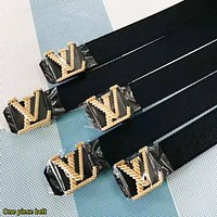 Louis Vuitton LV  Fashion New Letter Buckle Leather Women Men Leisure Belt