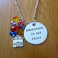 "Disney's ""UP"" Inspired Necklace. Adventure is out there! House with balloons. Swarovski crystals. Hand Stamped. Silver colored. Ellie & Carl"
