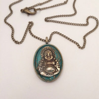Buddha necklace / brass buddha pendant necklace / buddha jewelry / brass jewelry necklace / buddha pendant / spiritual jewelry