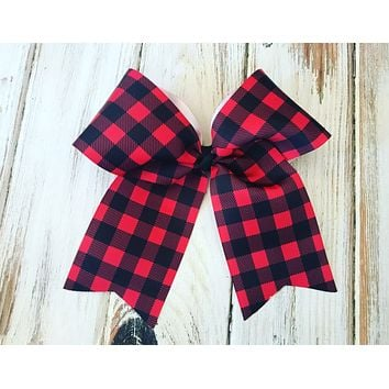 Buffalo Plaid Cheer bow