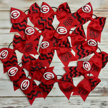 Custom Cheer bow, Red, black, white, Monogrammed Cheer Bow, Softball, Cheer Camp, Cometition, Travel Ball, Custom made for Your Team