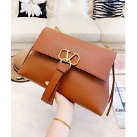 Valentino Fashion New Leather High Quality Chain Shopping Leisure Shoulder Bag Women Brown