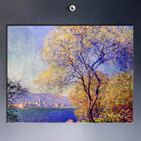 antibes-seen-from-the-salis-gardens-01(1) Giclee  poster By CLAUDE MONET art prints on canvas for home decoration