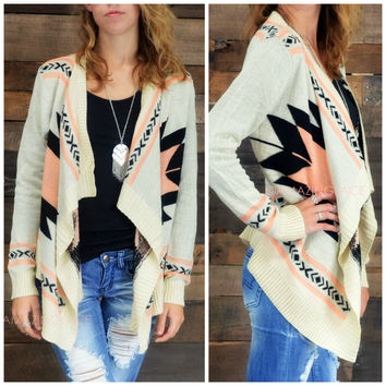 Curling Willow Coral Aztec Open Collar Cardigan