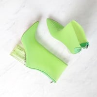 Cape Robbin Birthday Suit ankle booties with clear lucite heel in neon lime green