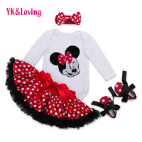 2016 New Arrival Fashion Baby Girl Clothes Sets Minnie Dot Cotton Long Sleeve Romper+Tutu Skirts+Headband+Shoes Infant Clothing