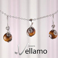 Ear-rings and pendant jewelry set with round tigers eye gemstones, sterling silver shapes, OOAK