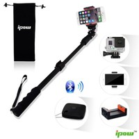 IPOW Extendable Waterproof Monopod Pole with Bluetooth Remote Shutter for Smartphones, Digital Cameras and GoPro HD Hero 3+ 3 2 - Black