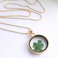 dry real Four Leaf Clover dome necklace