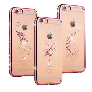 Rose Gold Plating Bling Diamond Cute Peacock Shell Swan Phone Case For Iphone 6 6s 6 Plus 5.5 inch Crystal Clear TPU Soft Covers