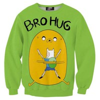 Adventure Time Jake and Finn Bro Hug All Over Print Crew Neck Pullover Sweater in Green   DOTOLY